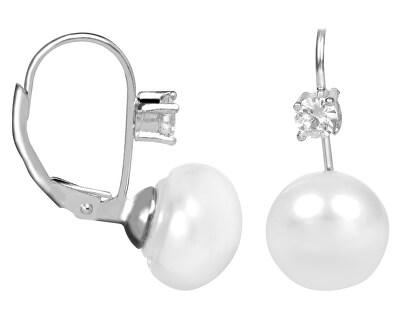 Stříbrné náušnice s bílou perlou a krystalem JL0400