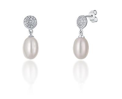 Stříbrné náušnice s pravou perlou a zirkony JL0684