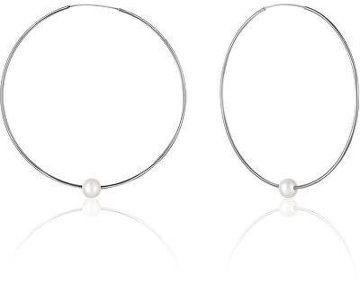 Stříbrné náušnice kruhy s pravými bílými perlami JL0638