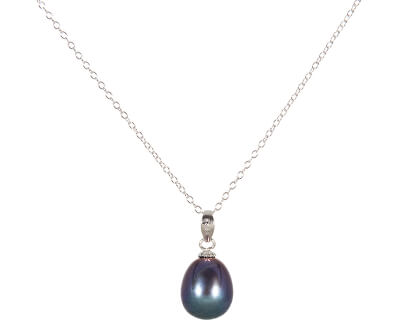 Strieborný náhrdelník s modrou perlou JL0438 (retiazka, prívesok)