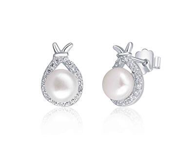 Cercei din argint strălucitori, cu perle și zirconiu JL0605