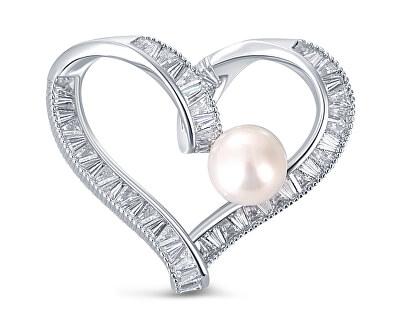 Třpytivá brož srdce s pravou perlou a krystaly JL0695