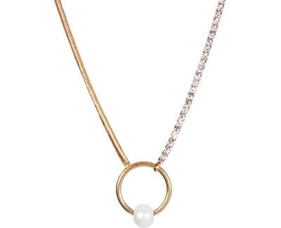 Trblietavý pozlátený náhrdelník s pravou perlou JL0473CH