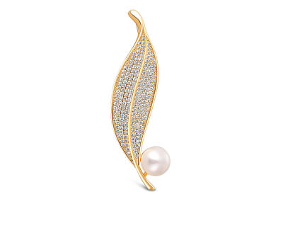 Zářivá perlová brož lísteček 2v1 JL0700