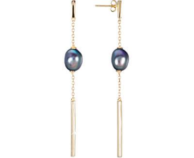 Pozlátené strieborné náušnice s pravou modrou perlou JL0463