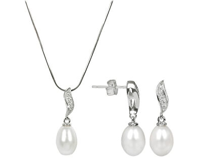 Zvýhodněná perlová souprava šperků JL0199 a JL0200 (náhrdelník, náušnice)