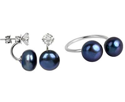 Zvýhodnená perlová súprava šperkov JL0225 a JL0433 (náušnice, prsteň)