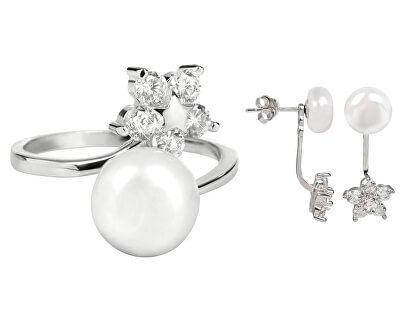 Zvýhodnená perlová súprava šperkov JL0281 a JL0322 (náušnice, prsteň)