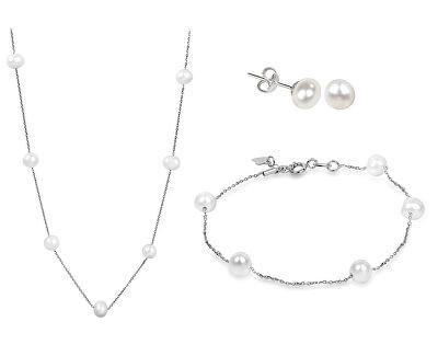 Zvýhodnená perlová súprava šperkov JL0355, JL0353 a JL0026 (náhrdelník, náramok, náušnice)