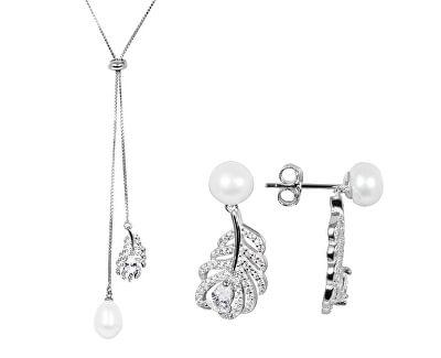 Zvýhodněná perlová souprava šperků JL0536 a JL0537 (náhrdelník, náušnice)