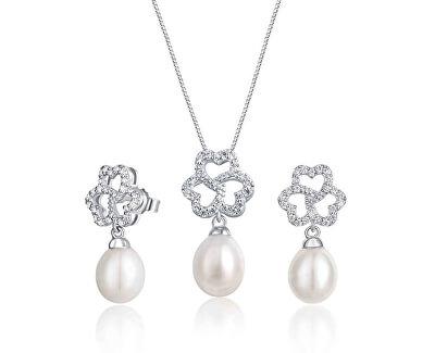 Zvýhodněná perlová souprava šperků JL0609 a JL0610 (náhrdelník, náušnice)