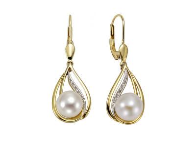 Elegantní pozlacené náušnice s perlami SVLE0757XH2PG00
