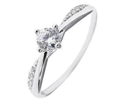 Něžný stříbrný prsten s čirými zirkony SVLR0306XH2BI