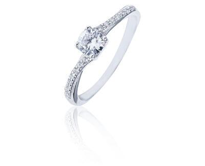 Něžný stříbrný prsten s čirými zirkony SVLR0318XH2BI