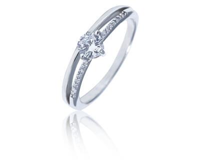 Něžný stříbrný prsten s čirými zirkony SVLR0323XH2BI