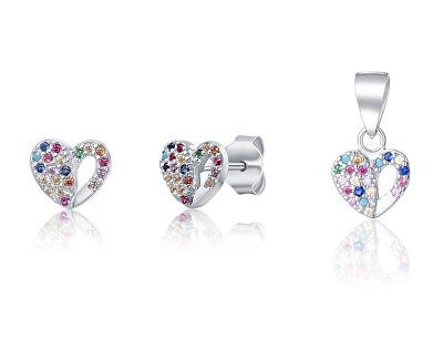 Stříbrná sada šperků se srdíčky SVLS0043XF6BA00 (přívěsek, náušnice)