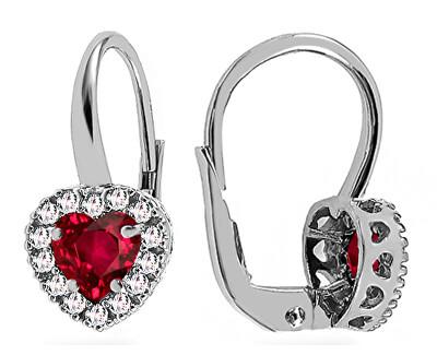 Silberne Herzohrringe mit burgunderfarbenen Zirkonen  SVLE0661XH2R100