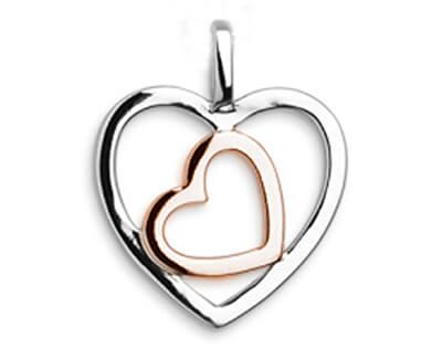 Stříbrný bicolor přívěsek Srdce SVLP0155XH2BK00