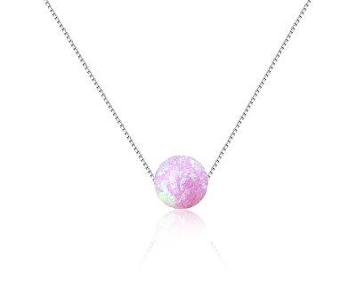 Stříbrný náhrdelník s růžovým syntetickým opálem SVLN0166XF6O400