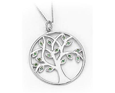 Stříbrný přívěsek se zelenými zirkony Strom života SVLP237XH2Z300