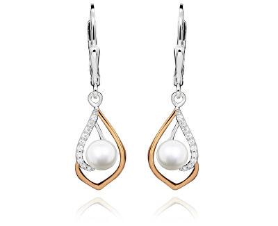 Stylové bicolor náušnice s perlou a zirkony SVLE0331SH8P100