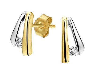 Stilvolle Bicolor Ohrringe mit Zirkonen SVLE0637XH2BK00