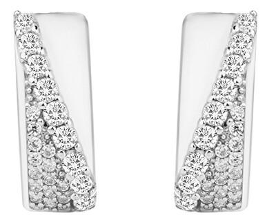 Stylové stříbrné náušnice s třpytivými zirkony SVLE0668XH2BI00