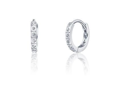 Třpytivé stříbrné náušnice kruhy SVLE0942XI2BI00
