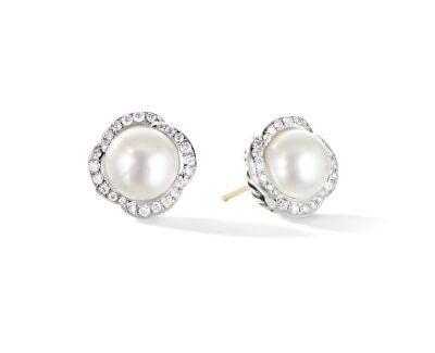 Třpytivé stříbrné náušnice s perlami SVLE0640XH2P100