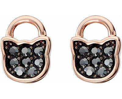 Růžově zlacené kočičí náušnice Lock & Key 5512314