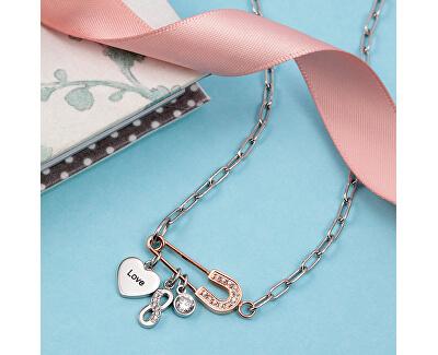 Moderní ocelový náhrdelník s přívěsky Love LPS10ASD01