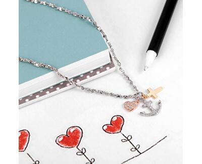 Tricolor ocelový náhrdelník láska, víra, naděje LPS10AQA08