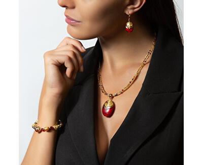Elegante Halskette aus dem Roten Meer mit Lampglasperle mit NP25 aus 24 Karat Gold
