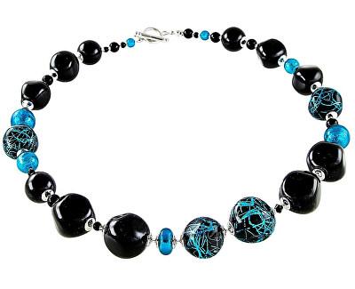 Elegantní souprava šperků Turquoise Icon z perel Lampglas s ryzím stříbrem CQ3 (náhrdelník, náušnice)