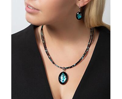 Výrazné náušnice Turquoise Shards z perel Lampglas s ryzím stříbrem EP12