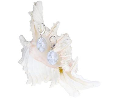 Elegantní náušnice White Lace s ryzím stříbrem v perlách Lampglas EP1