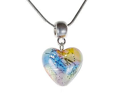 Něžný náhrdelník Romantic Heart s perlou Lampglas s ryzím stříbrem NLH6