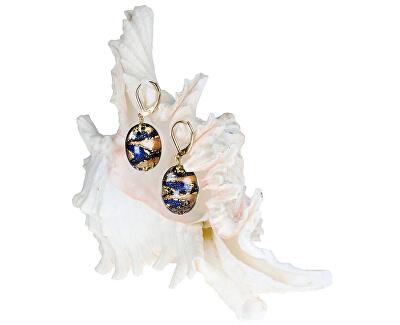 Erstaunliche ägyptische Ohrringe aus Lampglasperlen mit 24 Karat Gold EP28