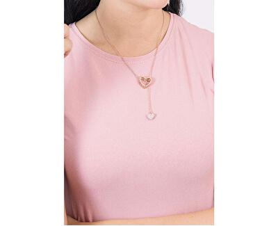Ružovo pozlátený oceľový náhrdelník LJ1188