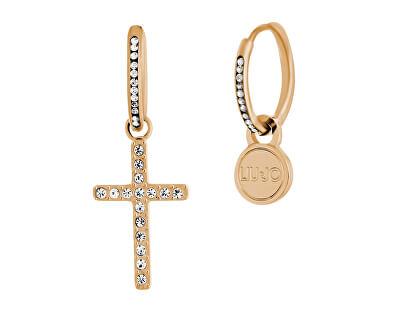 Cercei asimetrici din oțel placat cu aur roz cu cruce LJ1463
