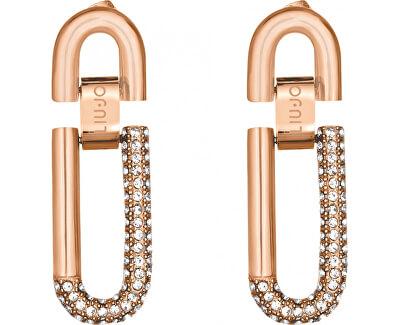 Cercei din oțel placat cu aur roz cu cristale LJ1197
