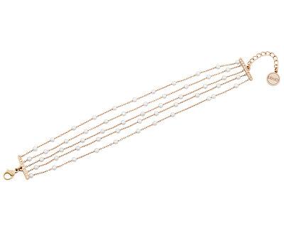 Brățară din oțel placat cu aur roz cu perle si cristale LJ1480
