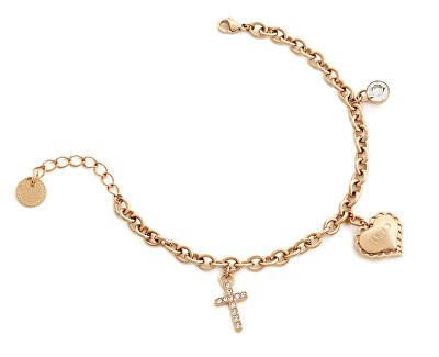 Brățară din oțel placat cu aur roz cu inima si cruce LJ1450