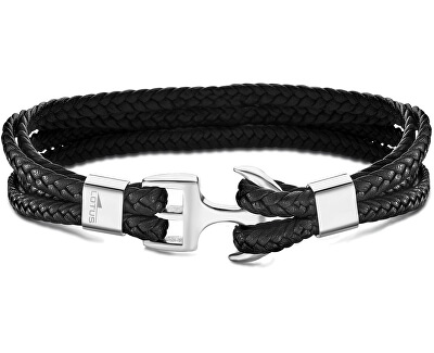 Čierny kožený náramok s kotvou LS2006-2 / 1