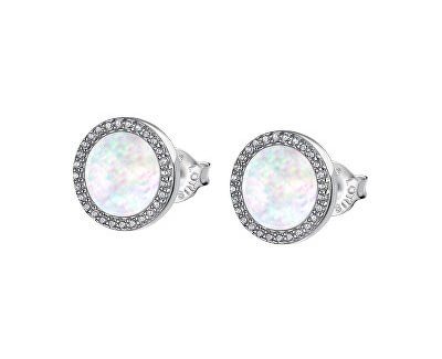 Krásné stříbrné náušnice pro ženy s perletí a zirkony LP1853-4/1
