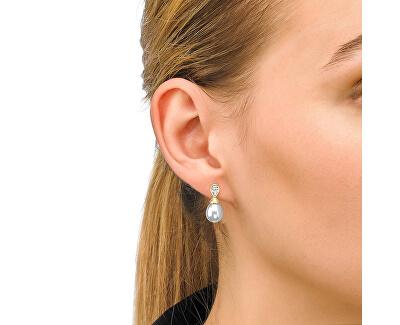 Pozlátené strieborné náušnice s pravou perlou a kamienkom 12267.01.1.000.010.1