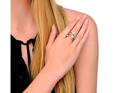 Špirálový pozlátený prsteň s perlami 10554.34.1.911.010.1