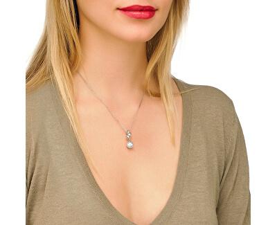 Strieborný náhrdelník s perlou a lístočkami 12849.01.2.000.010.1 (retiazka, prívesok)