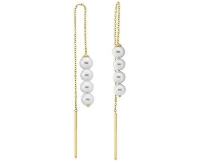 Dlhé oceľové náušnice s pravými perlami 15224.01.0.000.010.1