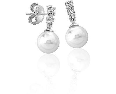 Strieborné náušnice s pravou perlou a kamienkami 15317.01.2.000.010.1